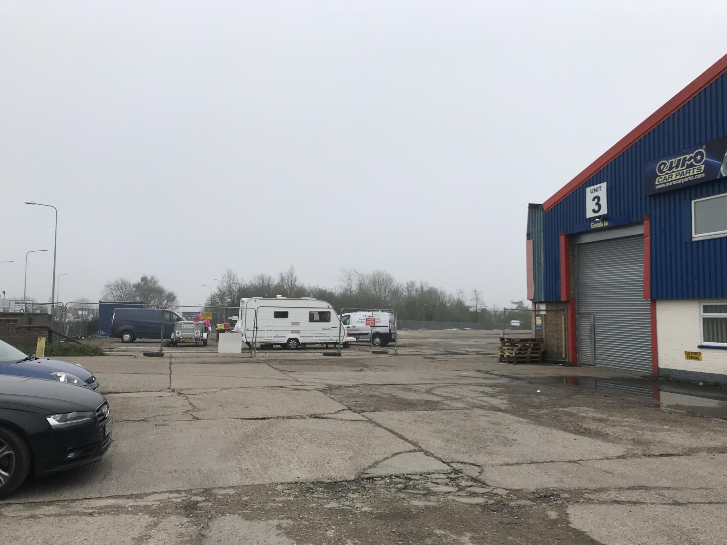 Travellers pitch up on industrial estate