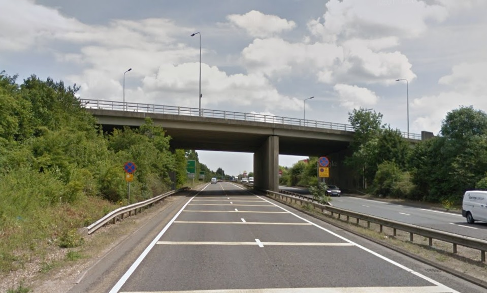 A bridge above the A120 (Street View)