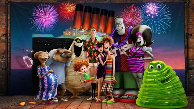 Braintree and Witham Times: Undated film still handout from Hotel Transylvania 3: A Monster Vacation. Pictured: Griffin the invisible man (voiced by David Spade), Wanda (Molly Shannon) and Wayne (Steve Buscemi) the werewolves, Murray the mummy (Keegan-Michael Key), Dennis (Asher Bli