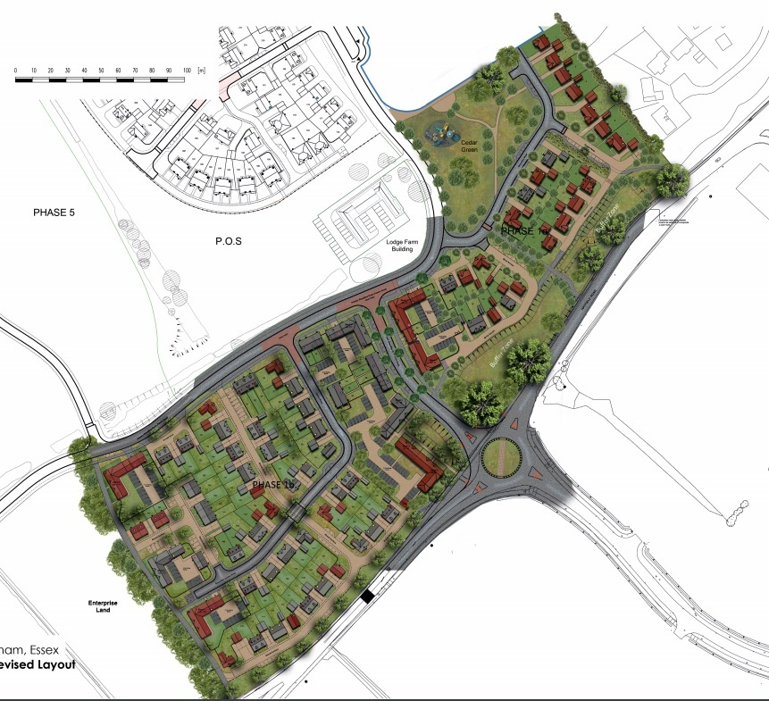 Stage one and two of Witham's Lodge Farm development side by side