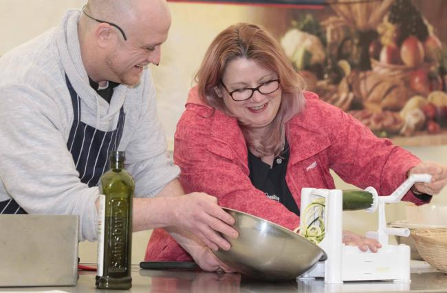 GOOD TASTE: Chefs James Barber and Ondine Hartgroves, who return this weekend, pictured during a demonstration at the March event