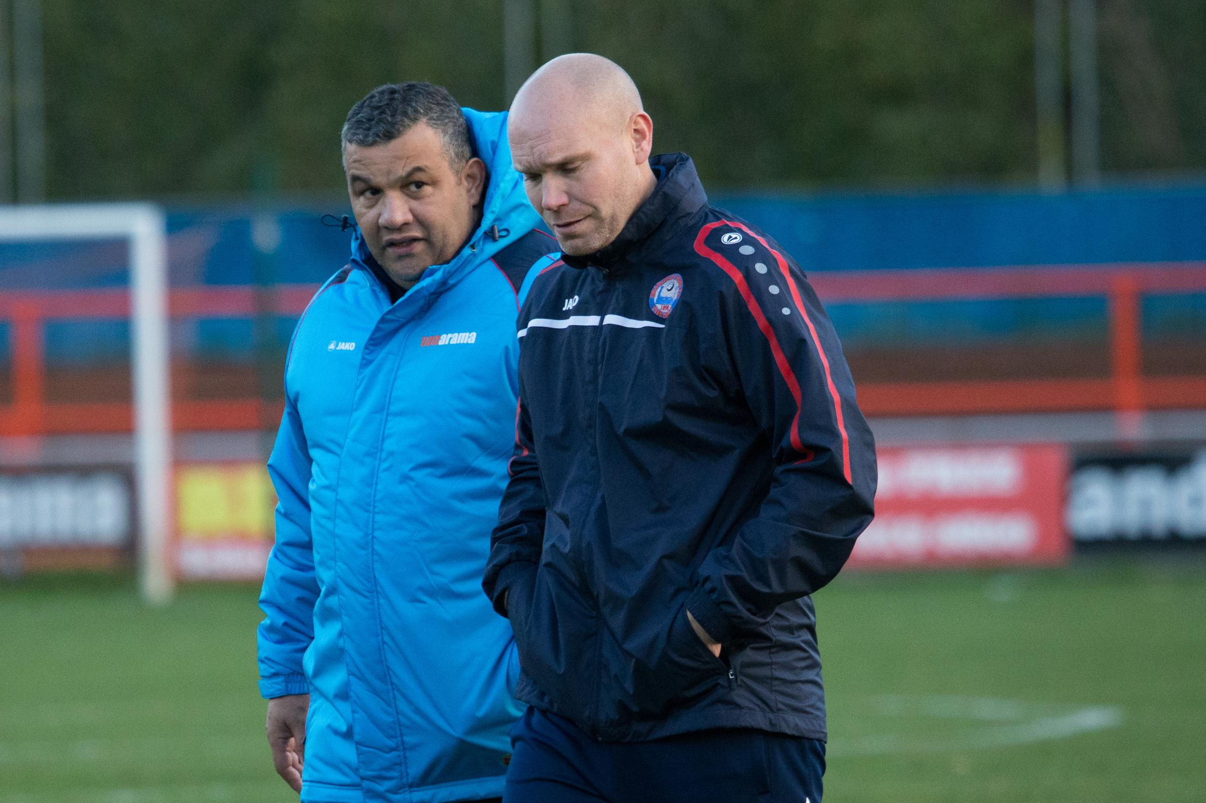 Braintree Town manager Hakan Hayrettin (left) and assistant boss Danny Searle. Picture: Chris Jarvis