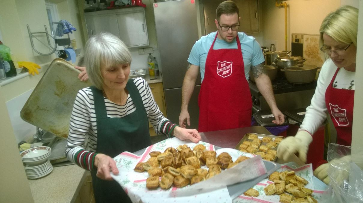 Sausage rolls: Volunteers get ready to do the rounds with some treats