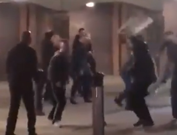 Video footage shows an A board being thrown