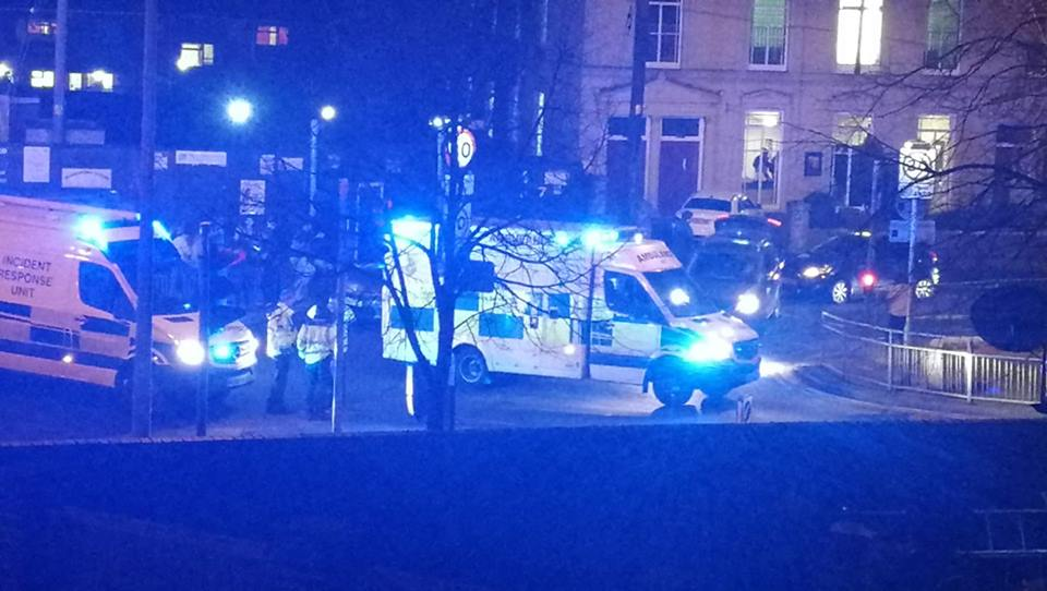 Emergency services at the scene of serious crash on busy road