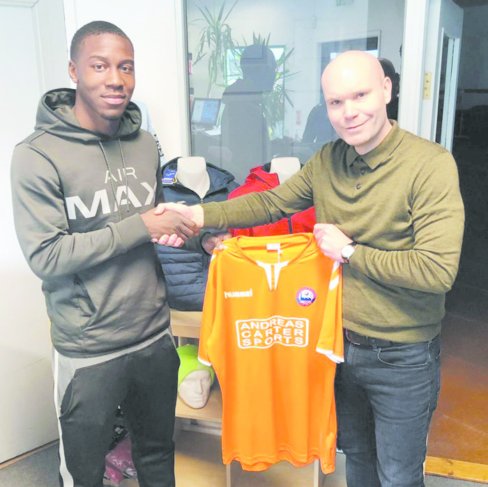 Braintree Town manager Danny Searle welcomes Korrey Henry to the club after joining from Yeovil Tow until the end of the season. Picture: Braintree Town FC