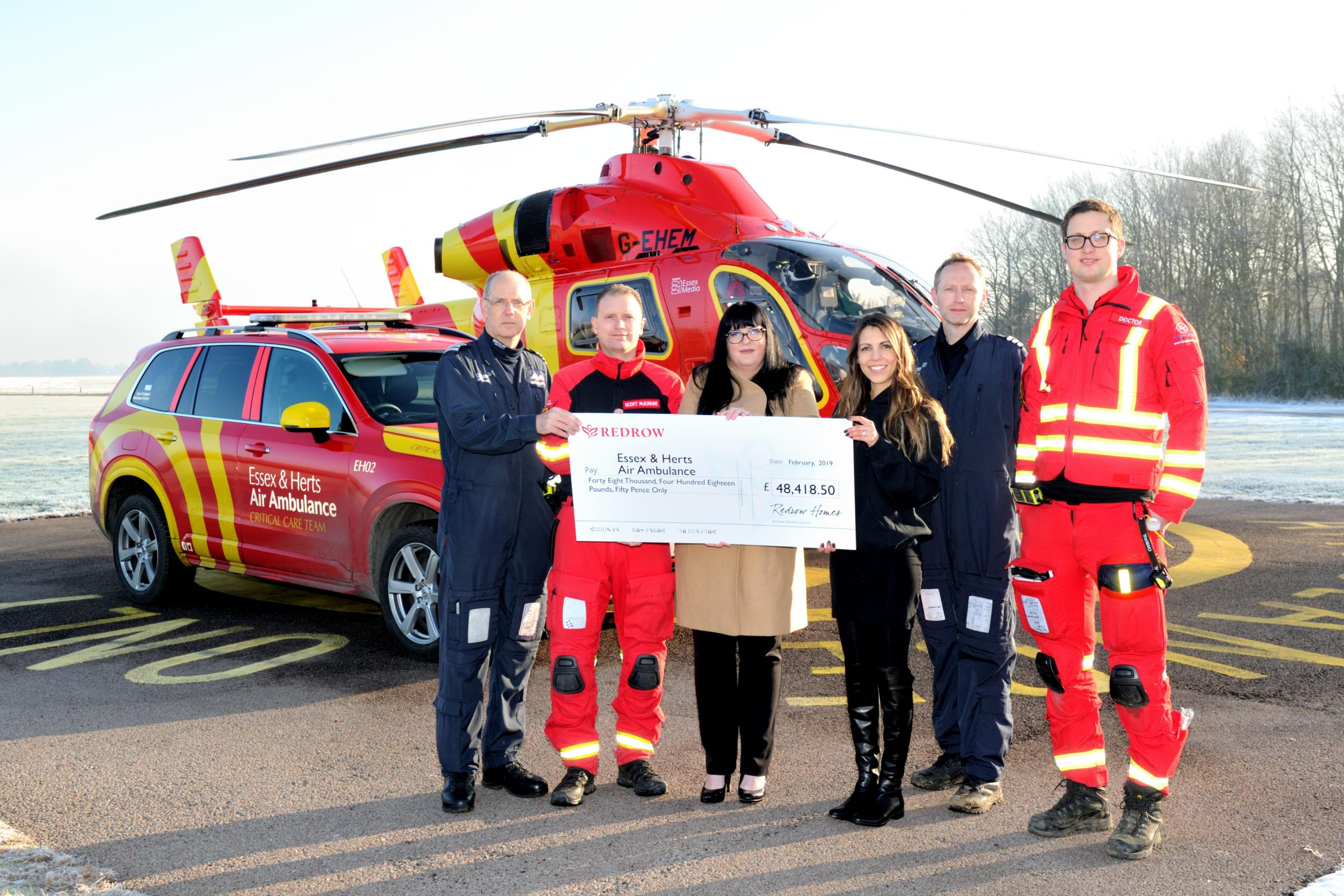 Donation: Redrow Eastern raised £48,418 for the Essex and Herts Air Ambulance