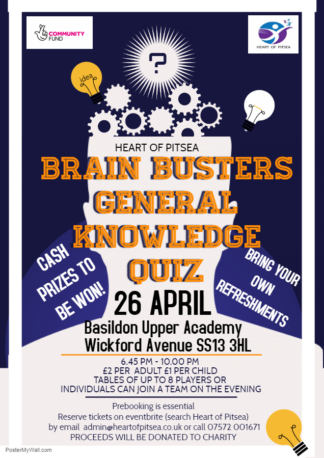Heart of Pitsea Brain Busters General Knowledge Quiz