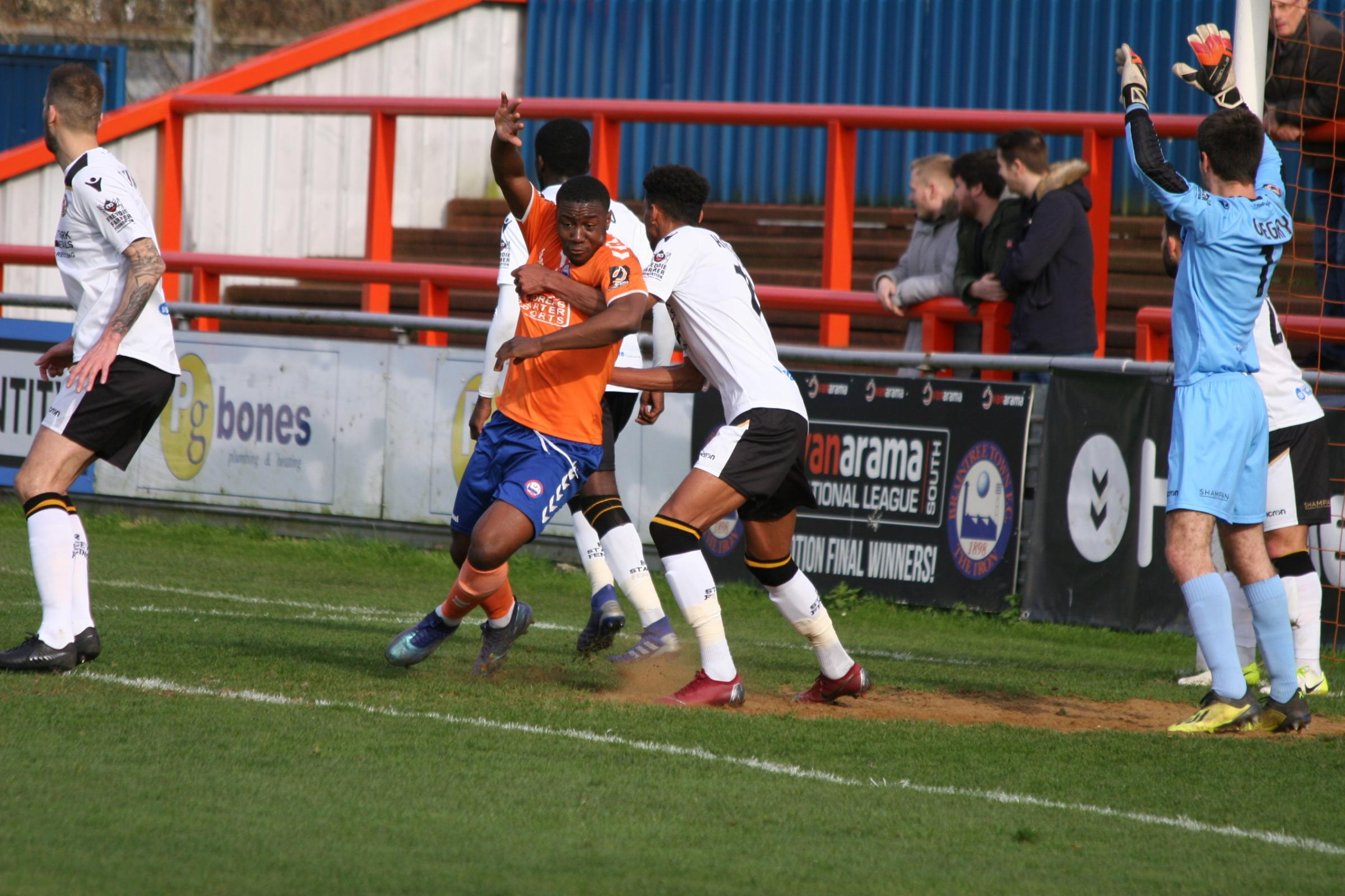 Korrey Henry notched Braintree Town's consolation goal at Wrexham. Picture: Jon Weaver