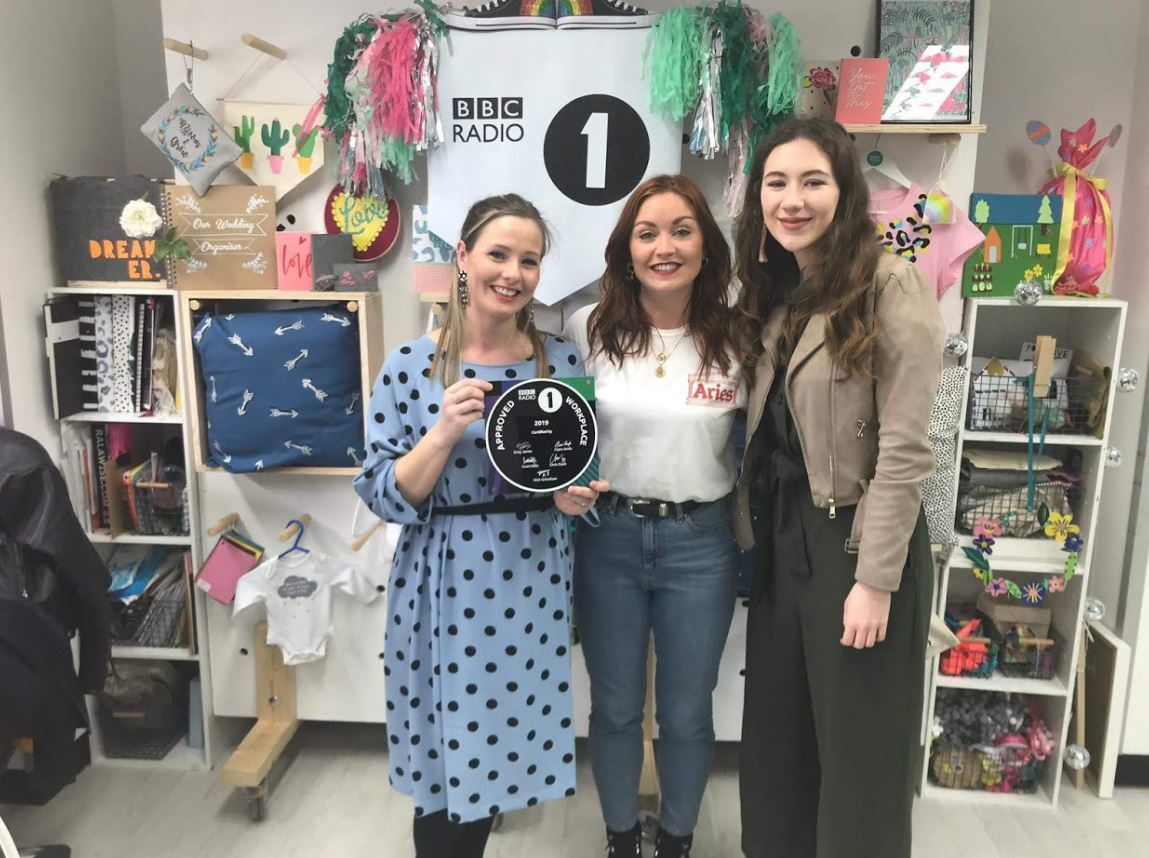 Plaque: Marnie Goodman, Radio 1's Arielle Free and Hayley Chapman