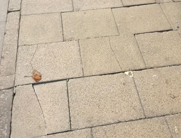 Braintree and Witham Times: Cracked: Slabs in High Street, Braintree