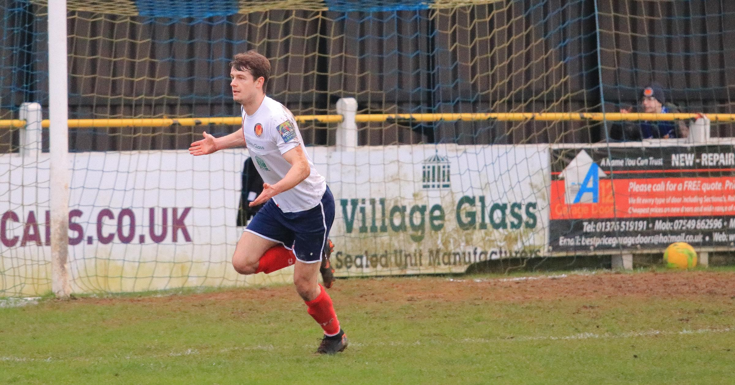 Johnny Ashman celebrates doubling Witham's lead. Picture:Jim Purtill
