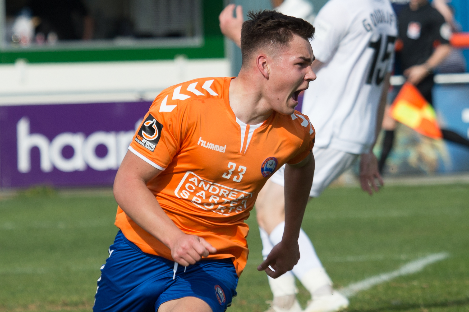 Afie Cerulli celebrates scoring Braintree's opening goal in a 2-0 win against Dagenham & Redbridge that set them up for a trip to the National League leaders on Saturday. Picture: Chris Jarvis