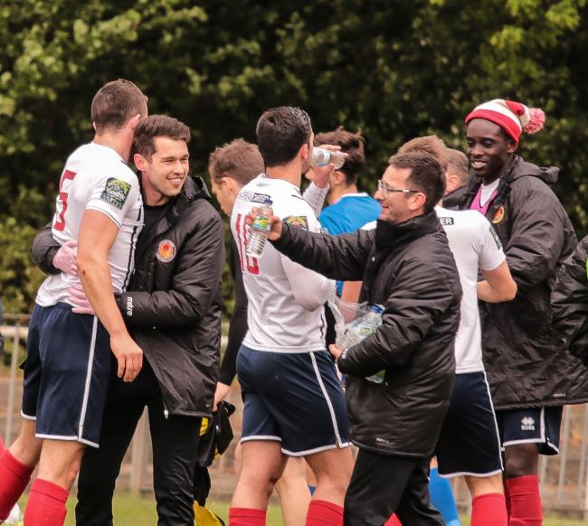 Witham's players and staff celebrate their win and league survival at the final whistle on the last day of last season but they will be heading into the new campaign in August with a new boss at the helm. Picture: Jim Purtill
