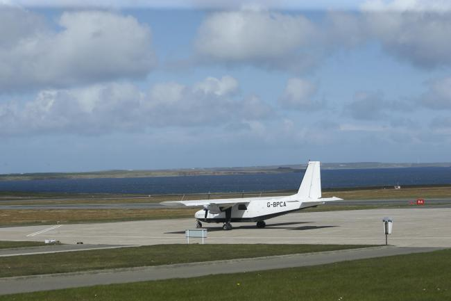 A light aircraft at Kirkwall Airport