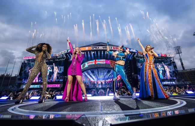Handout photo dated 24/05/19 issued by Dawbell of (left to right) Melanie Brown, Emma Bunton, Melanie Chisholm and Geri Horner of the Spice Girls in concert at Croke Park in Dublin. The pop group took to the stage for the first time in seven years to kick