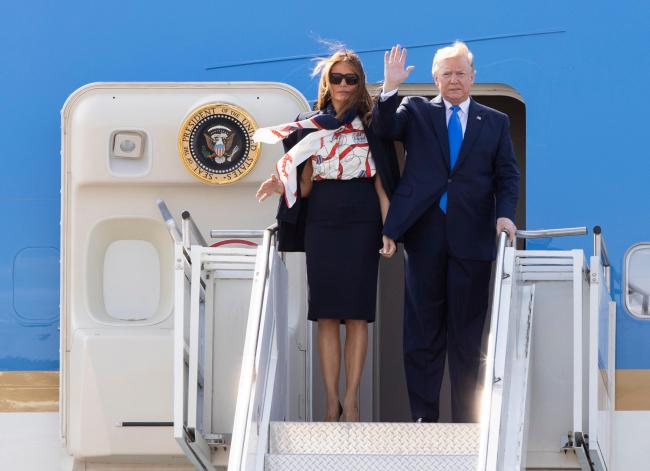 Touch down: Donald Trump and wife Melania arrived in the UK via Stansted Airport                                                   Picture: Stansted Airport