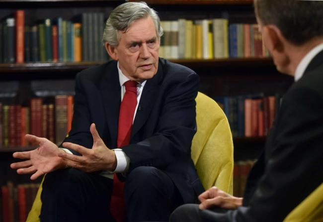 For use in UK, Ireland or Benelux countries only   Undated BBC handout  photo of former Labour prime minister Gordon Brown (left) speaking to Andrew Marr in a pre-recorded interview shown on the BBC1 current affairs programme, The Andrew