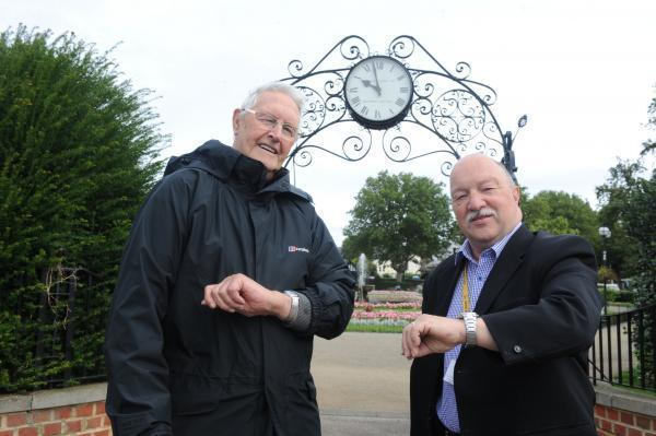 Flashback - Bill Banton and former councillor Graham Longley at the clock in 2014, who had been calling for its restoration