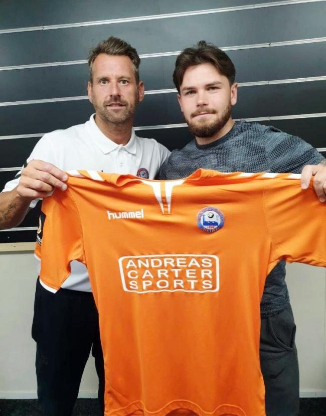 Aaron Lamont with Braintree Town manager Glen Driver after the midfielder became the Iron boss' fifth new signing. Picture: Braintree Town FC